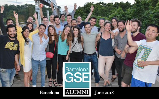 Alumni on the rooftop of the Barcelona GSE building at UPF campus
