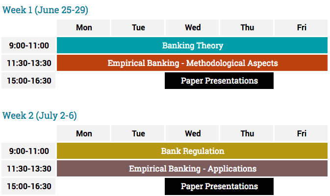 Time table for banking summer school