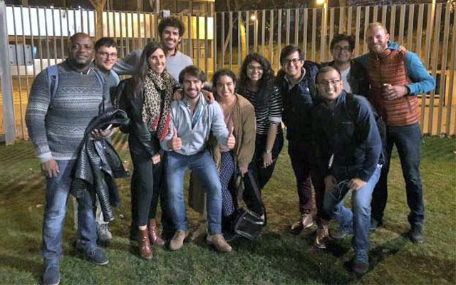 Students and alumni at the botifarrada