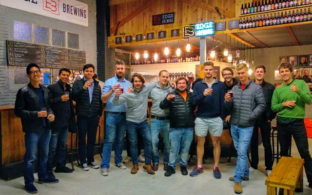 Alumni at a beer tasting in a local brewery in Barcelona