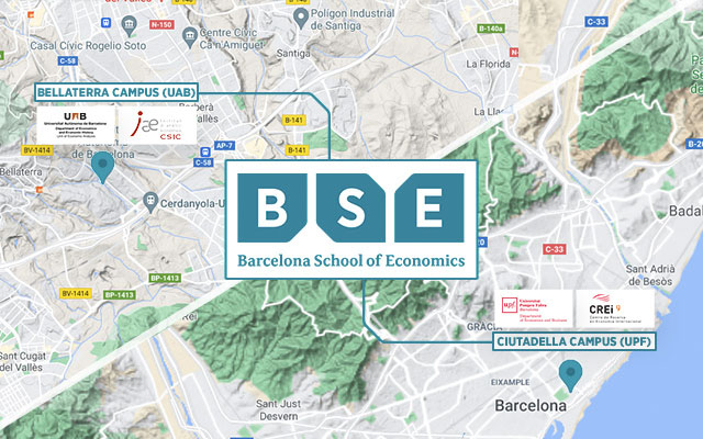 Map shows the locations of Barcelona School of Economics campuses and academic units