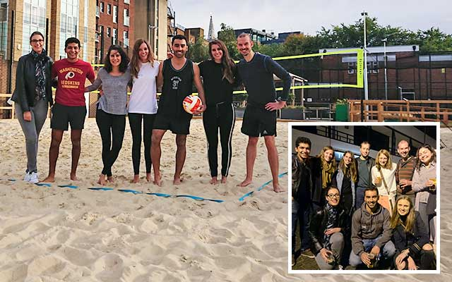 Alumni playing beach volleyball in London