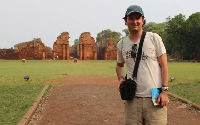 Felipe Valencia at the site of one of the Jesuit missions on Guarani lands in South America