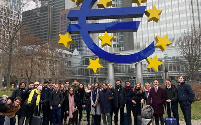 Students in front of European Central Bank
