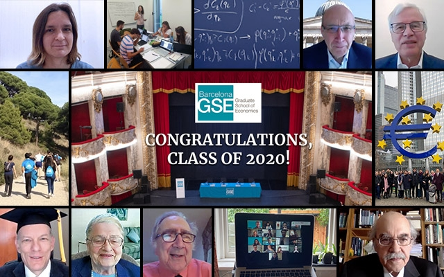 Graduation 2020 speakers - Esther Duflo, Andreu Mas-Colell, and members of the Barcelona GSE Scientific Council