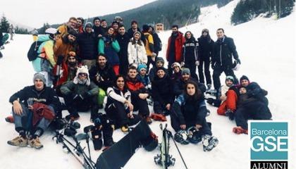 Students and alumni skiing in Andorra