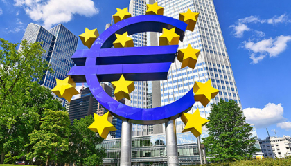 Euro sign in front of ECB in Frankfurt